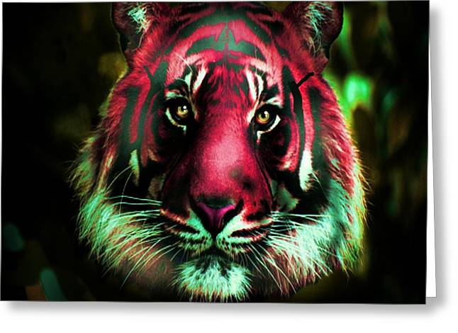 Greeting Card featuring the photograph Blushing Tiger by George Pedro