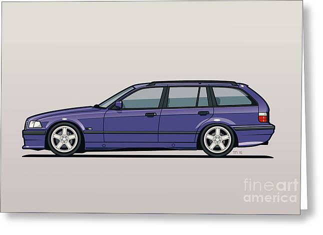 Bmw E36 328i 3-series Touring Wagon Techno Violet Greeting Card by Monkey Crisis On Mars