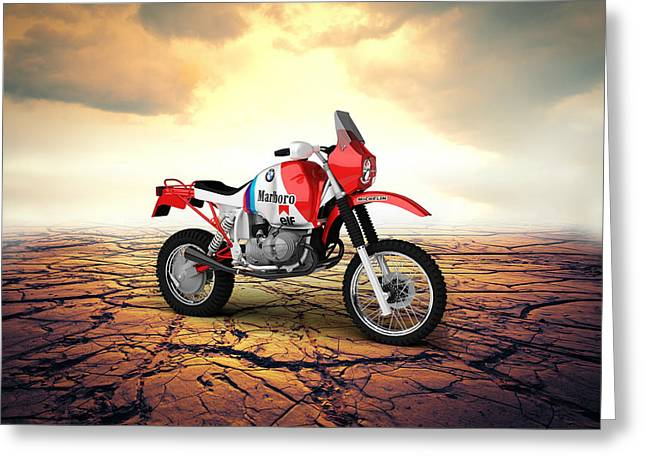 Bmw Gs980r Dakar 1985 Desert Greeting Card by Aged Pixel