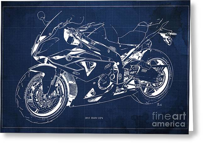 Bmw Hp4 2013 Blueprint Motorcycle, White Line, Vintage Background Greeting Card