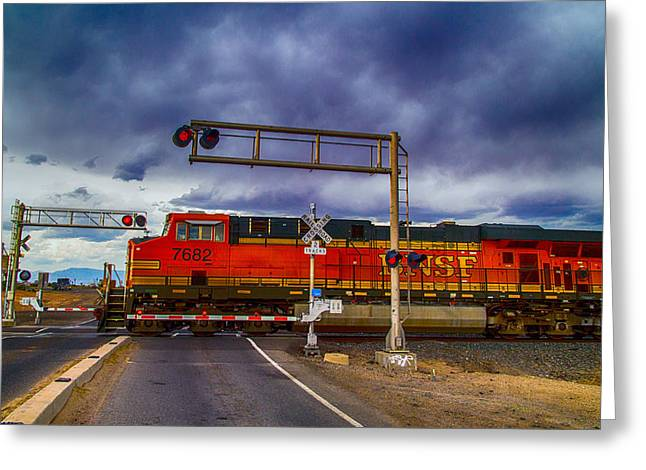 Bnsf 7682 Crossing Greeting Card by Bartz Johnson