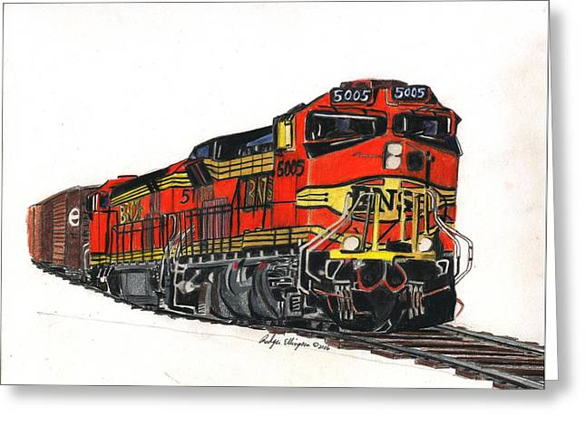 Bnsf Greeting Card by Rodger Ellingson