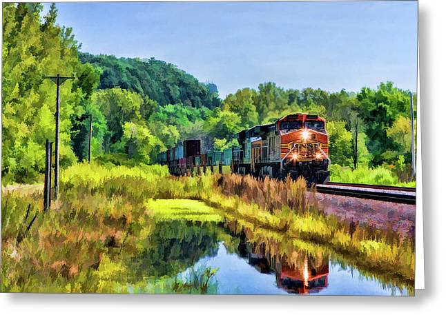 Bnsf Scenic Freight Train Greeting Card