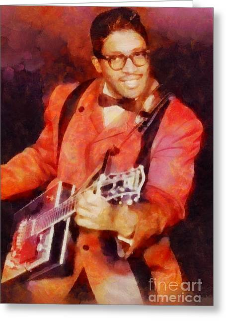 Bo Diddley, Music Legend Greeting Card by Sarah Kirk