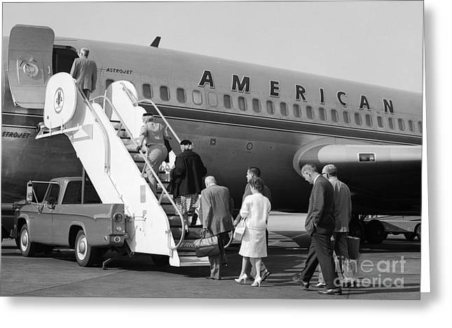 Boarding American Airlines Greeting Card by H. Armstrong Roberts/ClassicStock