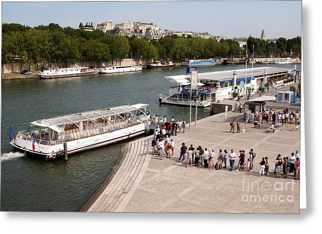 Boarding The Bateaux Mouches Greeting Card by Andy Smy