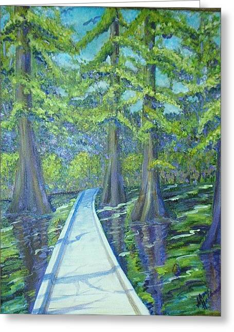 Boardwalk At Cypress Preserve Greeting Card by Sheri Hubbard