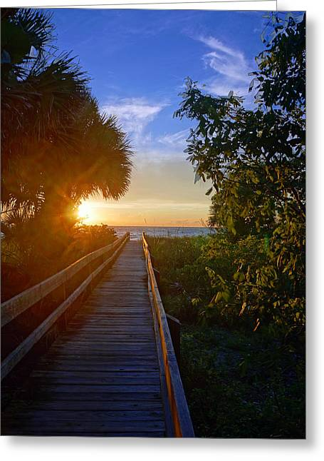 Sunset At The End Of The Boardwalk Greeting Card