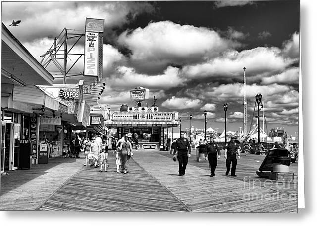 Boardwalk Beat Mono Greeting Card by John Rizzuto