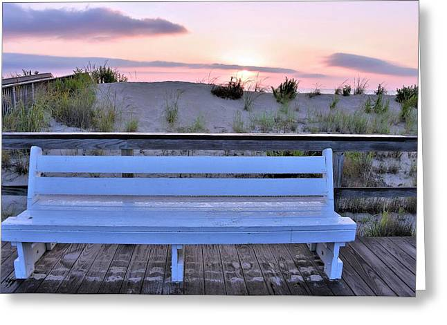 A Welcome Invitation -  The Boardwalk Bench Greeting Card