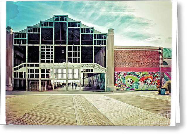 Boardwalk Casino - Asbury Park Greeting Card by Colleen Kammerer
