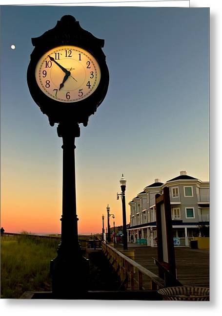 Boardwalk Clock With Rising Moon. Bethany Beach. Greeting Card
