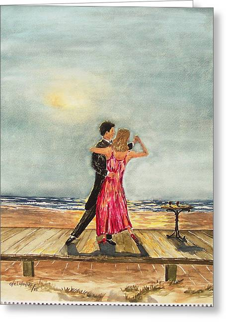 Boardwalk Dancers Greeting Card by Miroslaw  Chelchowski
