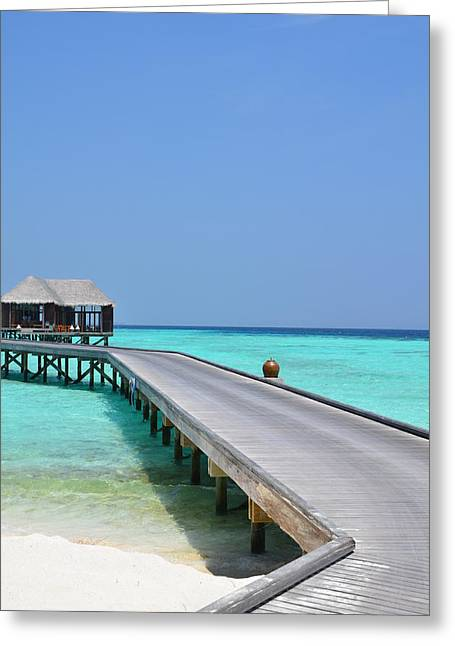 Thatch Greeting Cards - Boardwalk in Paradise Greeting Card by Corinne Rhode