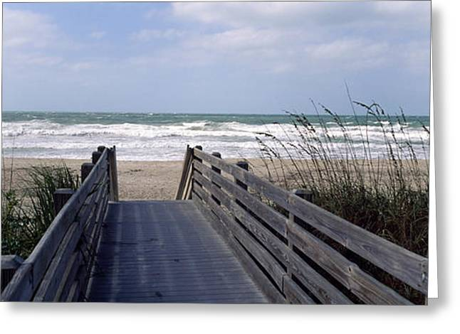 Boardwalk On The Beach, Nokomis Greeting Card by Panoramic Images