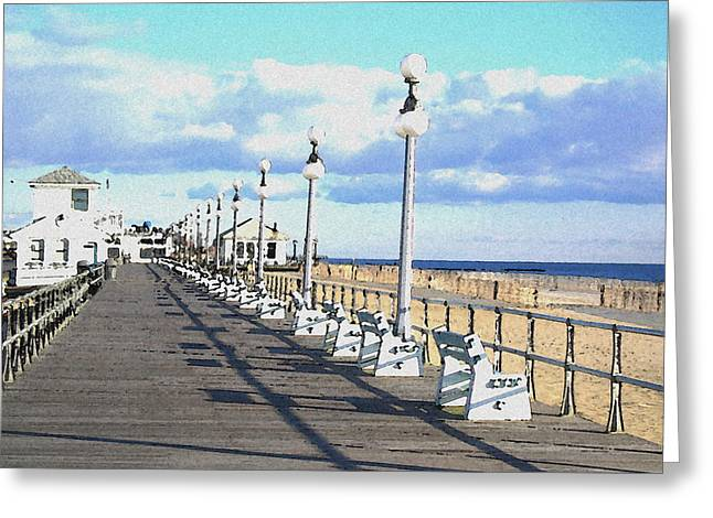 Ocean Shore Mixed Media Greeting Cards - Boardwalk Greeting Card by Paul Barlo