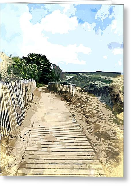 Boardwalk Through The Dunes Greeting Card by Elaine Plesser