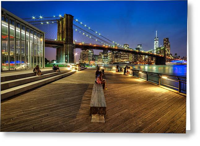 Boardwalk View At Brooklyn Bridge Park Greeting Card by Daniel Portalatin