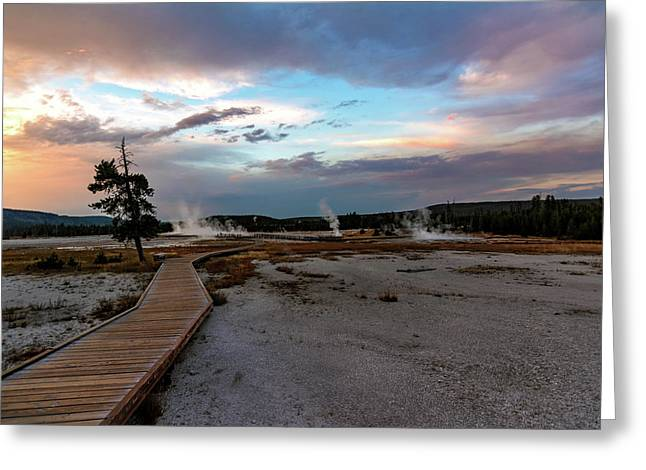 Boardwalks, Sunsets And Hotsprings Greeting Card by Jeremy Clinard