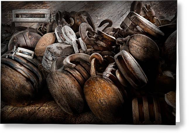 Boat - Block And Tackle  Greeting Card by Mike Savad
