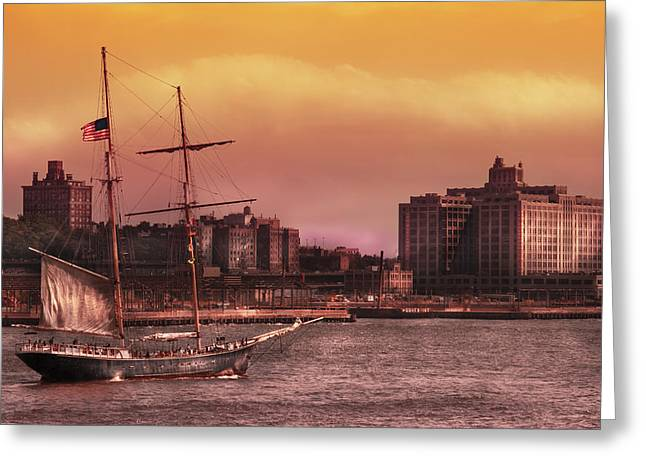 Boat - Ny - The Clipper  Greeting Card by Mike Savad