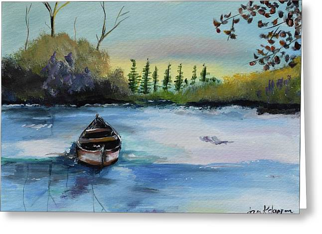 Greeting Card featuring the painting Boat Abandoned On The Lake by Jan Dappen