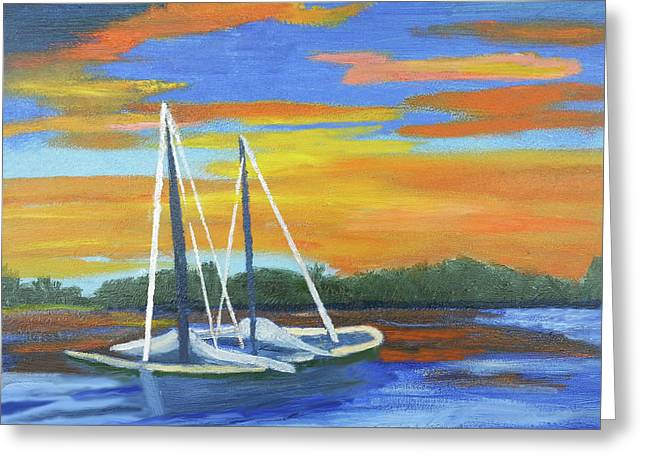 Boat Adrift Greeting Card by Margaret Harmon