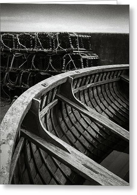 Boat And Creel Nets Greeting Card