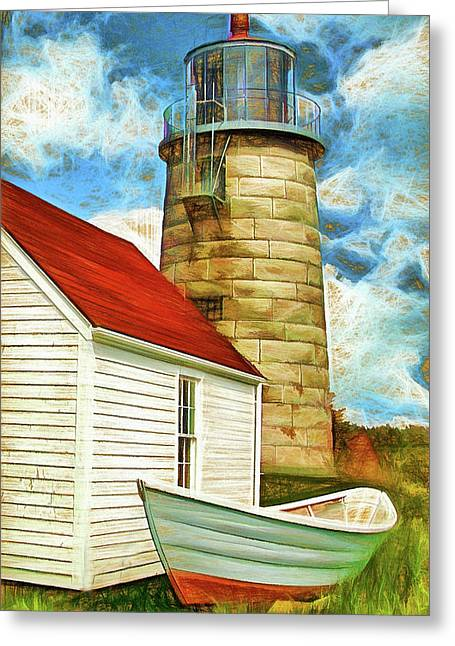 Boat And Lighthouse, Monhegan, Maine Greeting Card by Dave Higgins