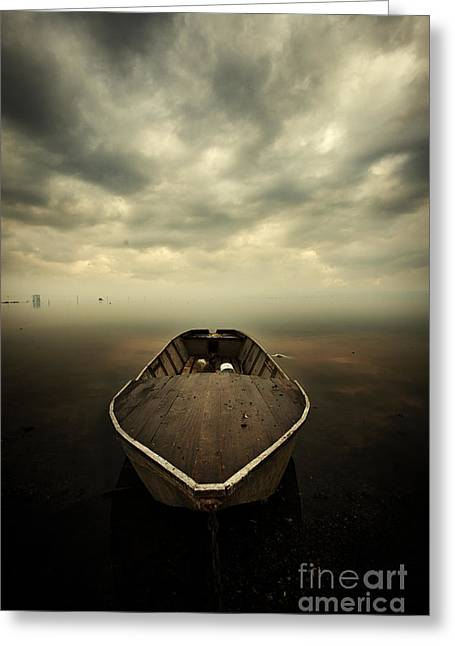 Boat And Storm Greeting Card by Caio Caldas