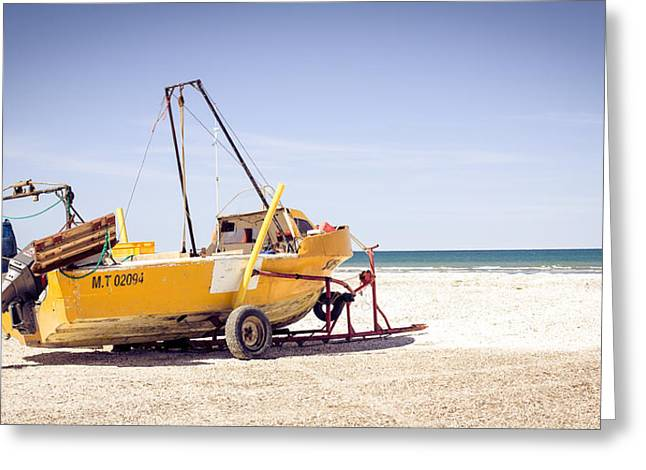 Boat And The Beach Greeting Card by Silvia Bruno