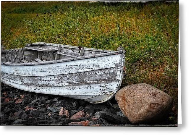 Boat Art - Washed Ashore - By Sharon Cummings Greeting Card