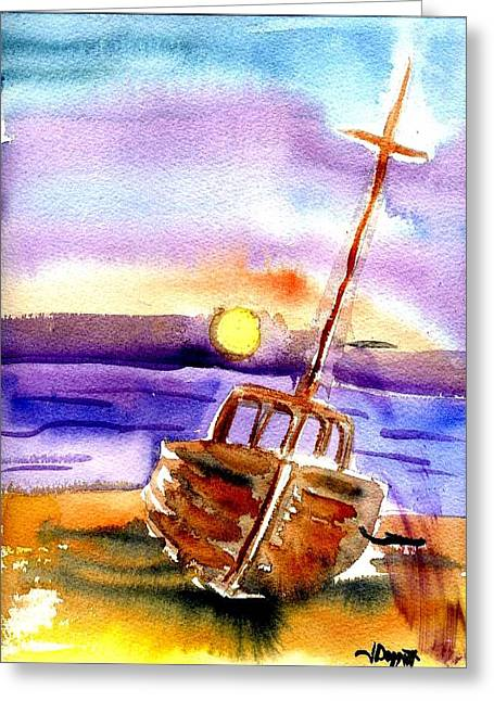 Boat Ashore Greeting Card by Janet Doggett