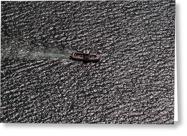 Boat At Sunset.02 Greeting Card by Arik Baltinester