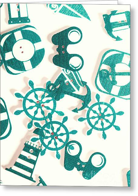 Boat Button Harbour Greeting Card