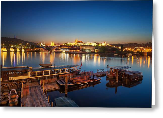 Boat Dock Near St. Vitus Cathedral, Prague, Czech Republic. Greeting Card