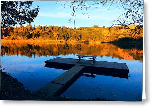 Boat Dock On Lafayette Reservoir Greeting Card