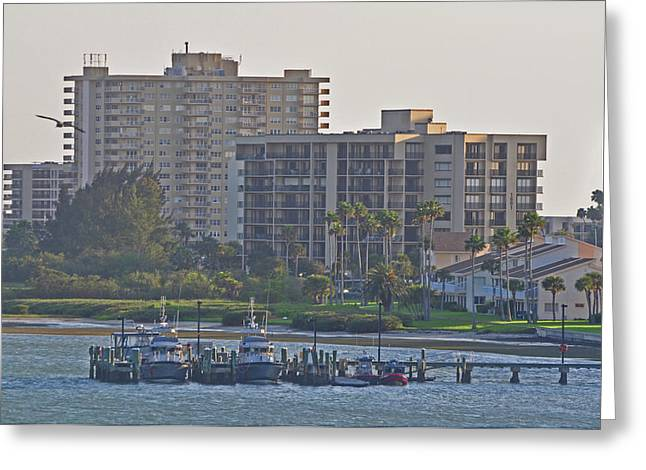 Boat Dock On The Bay Greeting Card by Peter  McIntosh