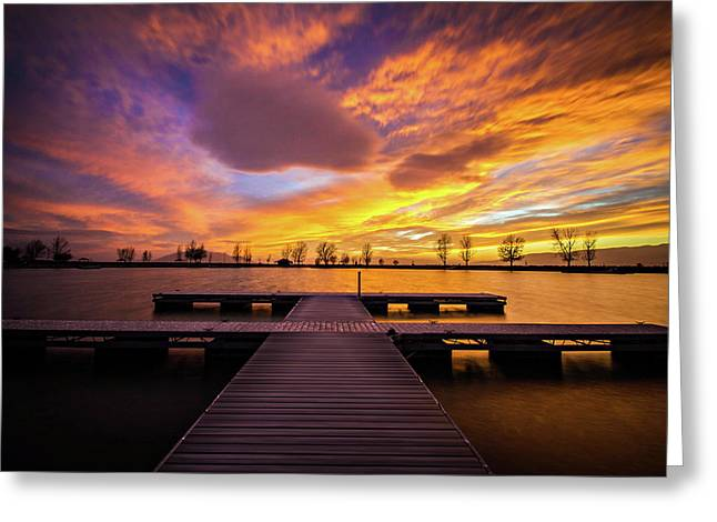 Boat Dock Sunset Greeting Card