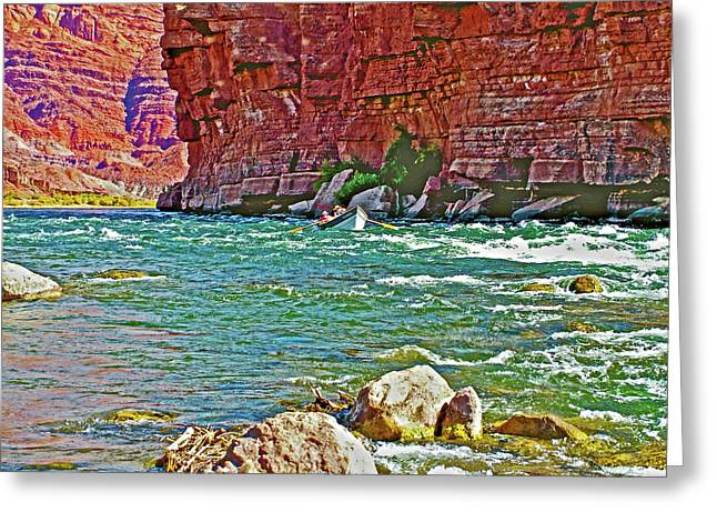Boat Entering Pariah Riffle At Lee's Ferry-arizona   Greeting Card by Ruth Hager