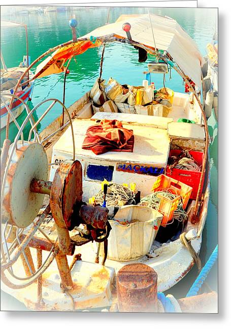 Enter My Boat And Let's Go Away From It All And Never Look Back  Greeting Card by Hilde Widerberg