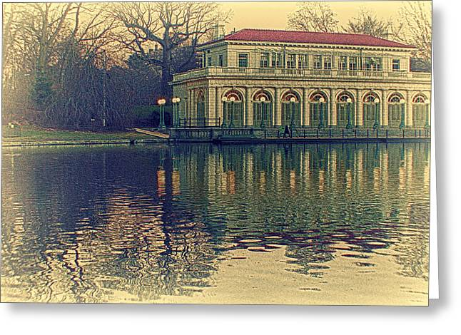 Best Sellers -  - Prospects Greeting Cards - Boat House in Prospect Park Greeting Card by Alex AG