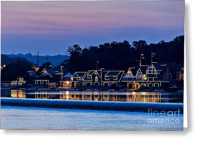 Boat House Row Greeting Card by John Greim