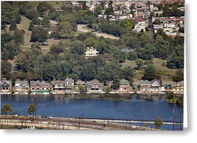 Boat House Row Philadelphia With Helicopter Greeting Card by Duncan Pearson