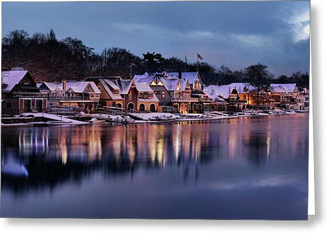 Boat House Row Snow Panorama Greeting Card