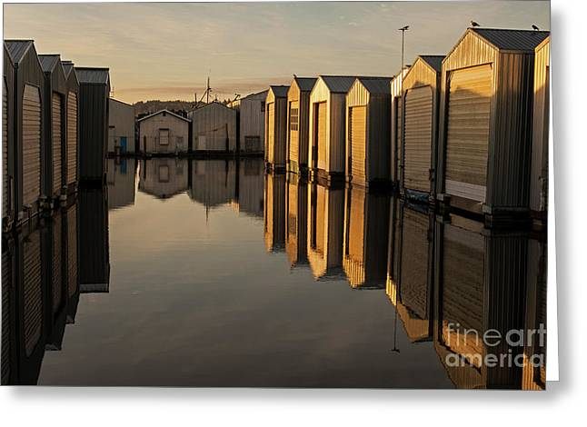 Boat Houses In Rows  Greeting Card by Jim Corwin