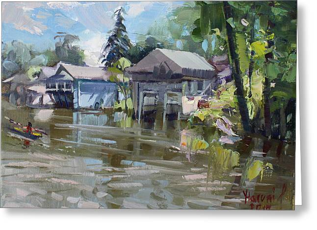 Boat Houses Greeting Card by Ylli Haruni