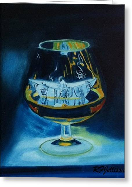 Boat In A Glass Greeting Card by Rod Jellison