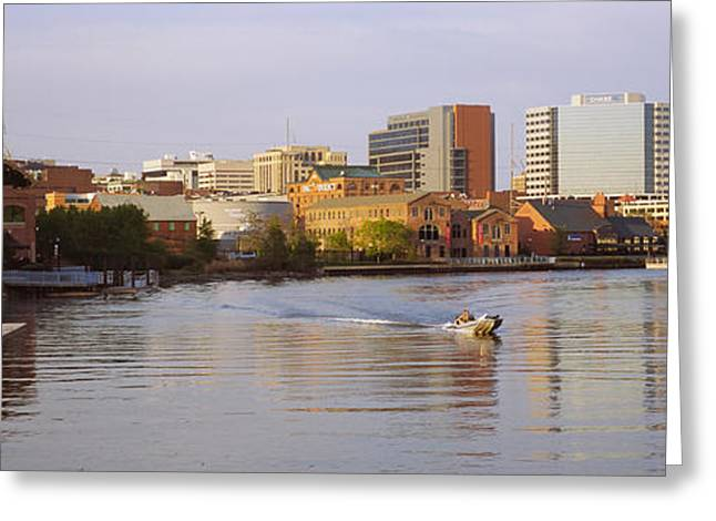 Boat In A River, Delaware River Greeting Card by Panoramic Images
