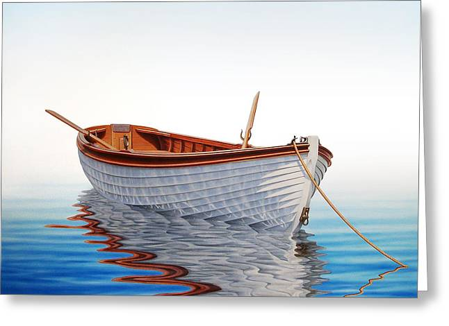 Boat In A Serene Sea Greeting Card by Horacio Cardozo